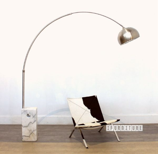 Arco Style Floor Lamp With Square Base