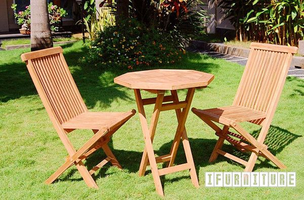 Picture of BALI Solid Teak  Folding Chair & D60 Octangle Table 3 PC Set