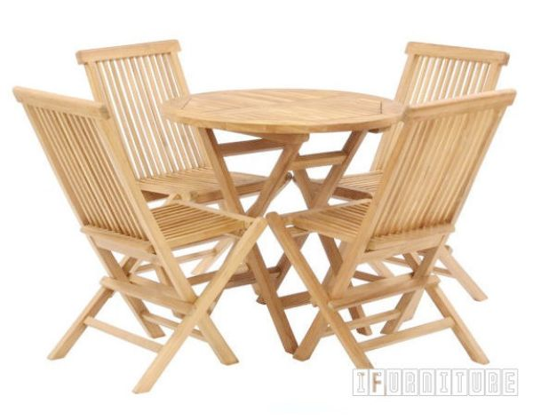 Picture of BALI Solid Teak D80 Round 5PC Garden Set