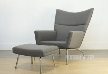 Picture of HANS J WEGNER WING Chair with Ottoman *Fiberglass & Cashmere