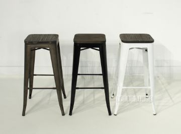 Picture of TOLIX Replica Bar Stool H76 with Rustic Elm Seat