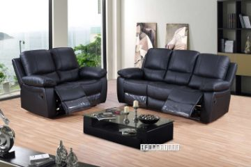 Picture of ABINGTON Reclining Genuine Leather Sofa *Black