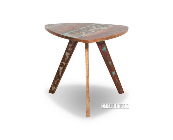 Triangle Coffee Table Wood.Malmo Solid Recycled Wood Triangle Side Table