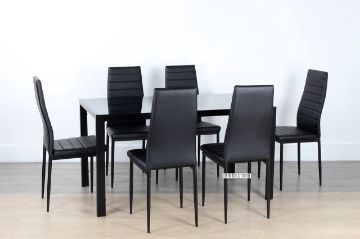 Picture of CANNES  7PC Dining Set *Black