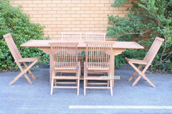 Picture of BALI Solid Teak TGF-010 A 160/210 7PC Extension Dining Set