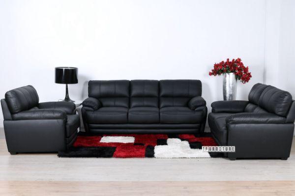 Ealing Genuine Leather Sofa Range Black