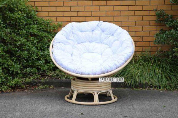 Pod Indoor Outdoor Day Bed Swirl Rocking Chair With Cream Cushion Real Rattan