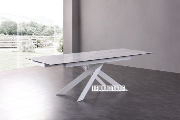 Picture of VOLAKAS 160-240 Extension Ceramic Marble Dining Table *White
