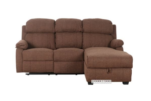 CHESTNUT L Shape Recliner Sofa with Storage Chaise