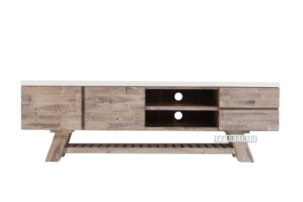 Picture of ANTON 180 Entertainment Unit  *White Concrete on Solid Acacia