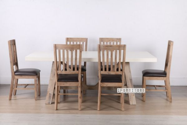 Picture of ANTON 2.1m 7PC Dining Set *White Concrete on Solid Acacia