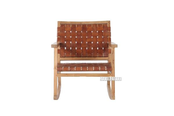 Picture of ROCKY Solid Teak Rocking Arm Chair *Genuine Cowhide