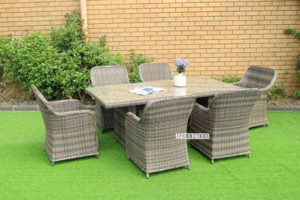 Picture of KAPSTADT 7PC Half-Round Wicker Dining Set *ALUMINIUM FRAME