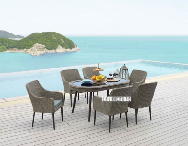 Picture of WANAKA 7PC Wicker Dining Set *ALUMINIUM FRAME