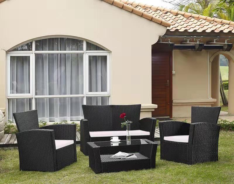 Hawea Rattan Outdoor 4 Pc Sofa And Coffee Table Set