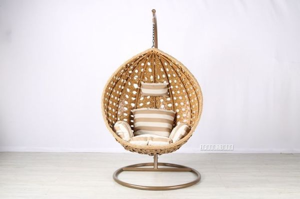 Picture of #8 Gold White Rattan Hanging Egg Chair