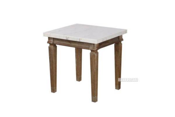 Picture of Imperial Side Table * Real Marble Top/White wash Timber