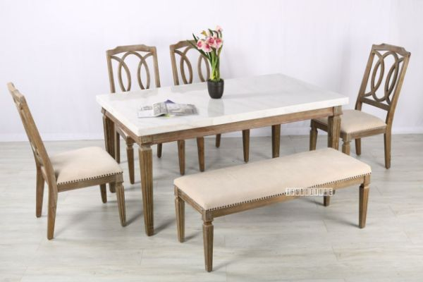 Picture of Imperial Dining Set 163 * Real Marble Top/Solid White wash Timber