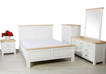 Picture of Sicily  Bedroom Combo in Queen/ King Size *Solid Wood - Ash Top