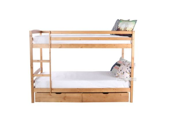 Starlet Bunk Bed With Storage Single King Single Size Natural Colour