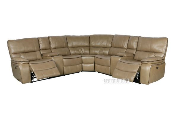 Picture of Arthur Power Recliner Sectional sofa with Console * Leather Gel in sandstone Colour