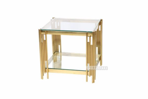 Picture of Lella Square Clear  Glass Side Table * Gold