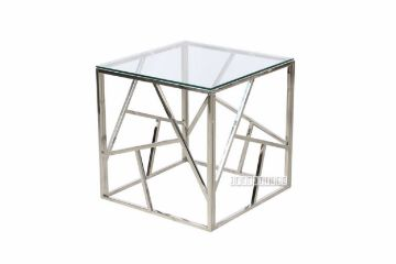 Picture of Lella Square Clear Glass Side Table * Silver