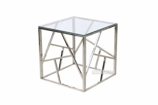 Lella Square Clear Glass Side Table Silver