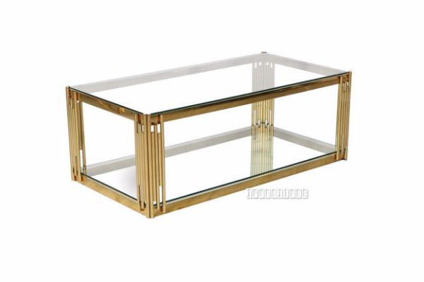 Lella Rectangle Clear Glass Coffee Table Gold