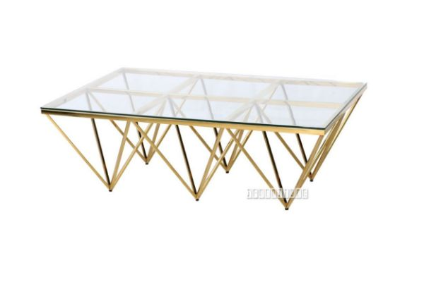 Lella Rectangle Clear Glass Coffee Table Angular Shaped Gold