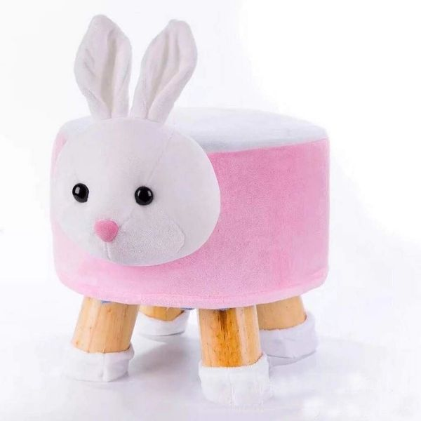 Picture of PLUSH ANIMAL FOOT STOOL *Pink Rabbit