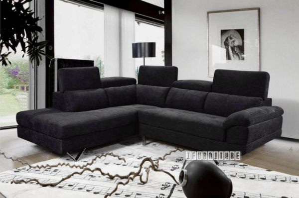 Bronte Corner Sofa In Black Colour
