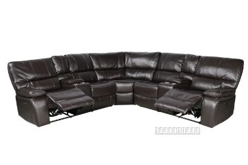 Picture of Arthur Power Recliner Sectional sofa with Console * Leather Gel in Espresso Colour