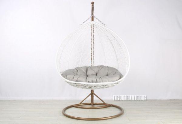34 Rattan Hanging Egg Chair Grey Cushion