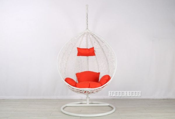 Picture of Albury Rattan Hanging Egg Chair *Orange Cushion