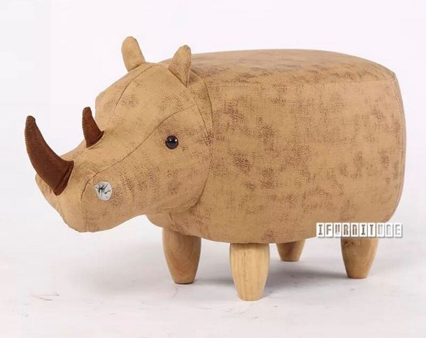 Picture of ANIMAL BIG HARDWOOD YELLOW RHINOCEROS OTTOMAN