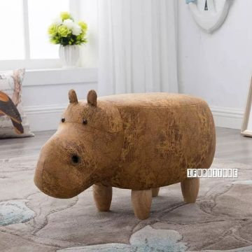 Picture of ANIMAL BIG HARDWOOD YELLOW HIPPO OTTOMAN