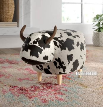 Picture of ANIMAL BIG HARDWOOD COW OTTOMAN