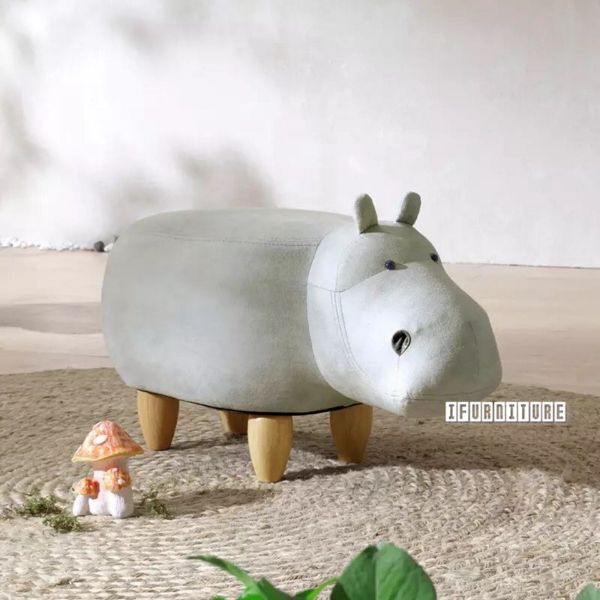 Picture of ANIMAL BIG HARDWOOD WHITE HIPPO OTTOMAN