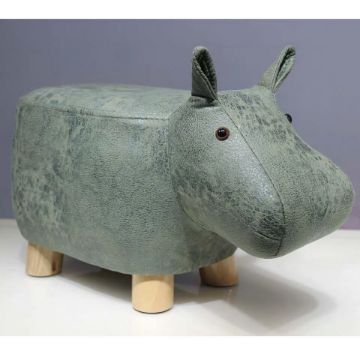 Picture of ANIMAL HARDWOOD GREEN HIPPO OTTOMAN