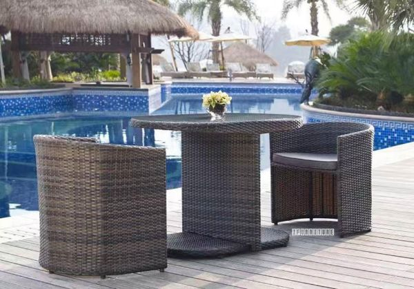 Picture of Kasper Rattan Outdoor 3PC Table Set *Aluminium Frame