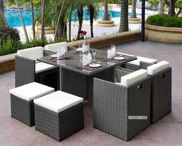Picture of Torquay Rattan Outdoor 9PC Table Set *Aluminium Frame