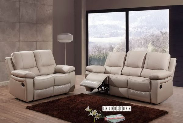 Picture of ABINGTON Reclining Genuine Leather Sofa *Beige