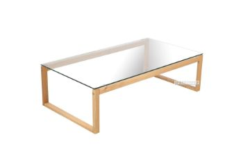 Picture of Paris Rectangular Glass Coffee Table *Solid Oak Legs