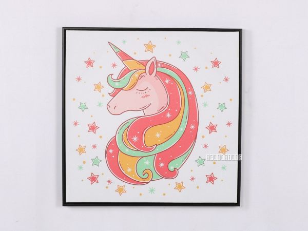 Picture of Red Unicorn 40x40 Canvas Framed Print