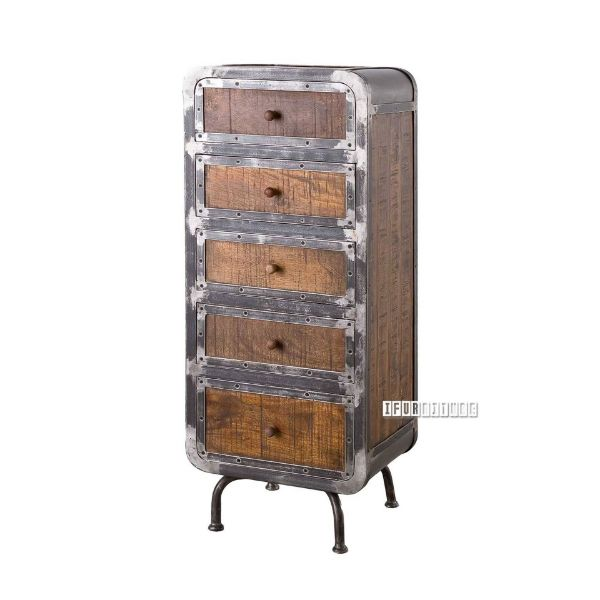 Picture of SAIGON Solid Mango Wood 5 Drawer Tallboy