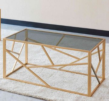 Picture of CLIO RECTANGLE GREY GLASS COFFEE TABLE *GOLD