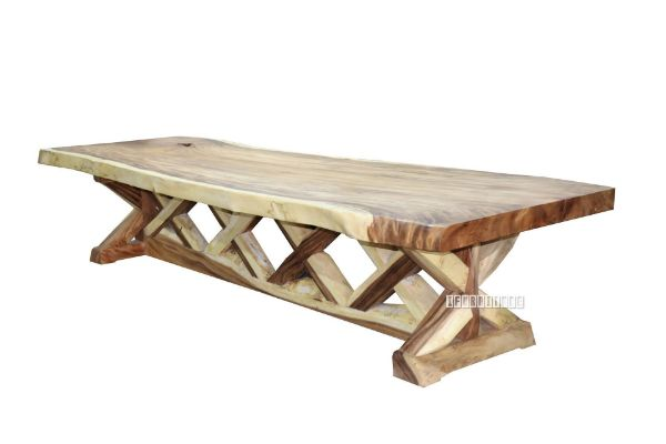 Picture of Farmhouse Solid Teak 418 Dining Table *Live Edge