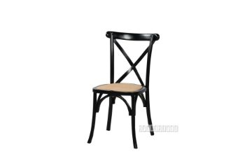 Picture of ALBION SOLID BEECH CROSS BACK DINING CHAIR *BLACK WITH RATTAN SEAT