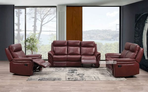Picture of Breville Reclining Genuine Leather Sofa *wine  red